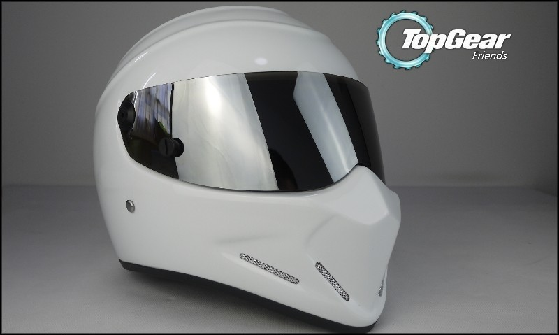 For TopGear The STIG White Helmet with Silver Visor From Top Gear / as SIMPSON Pig / Carting / Motocycle / Motobike / Racing 3