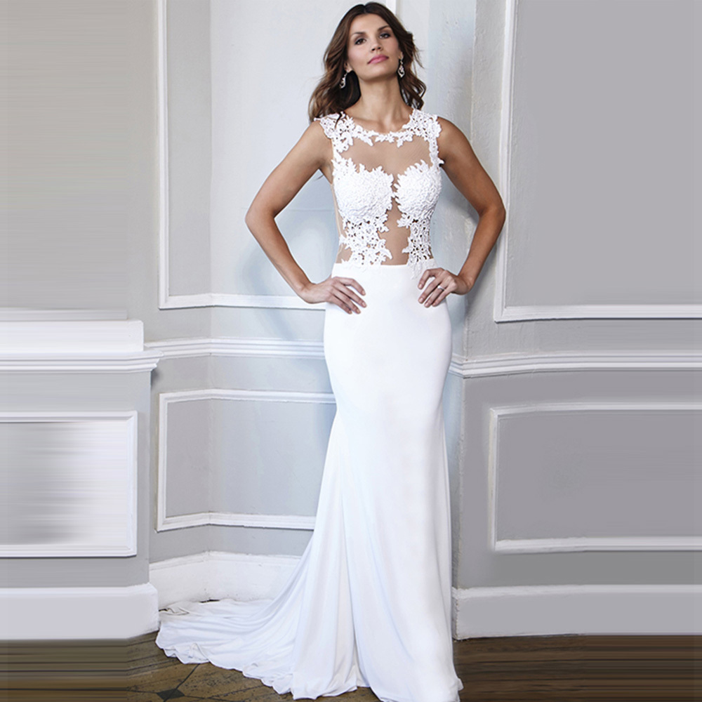 chiffon see through corset wedding dresses gowns lace white bridal dress 2016 zipper bodycon cheap vestido