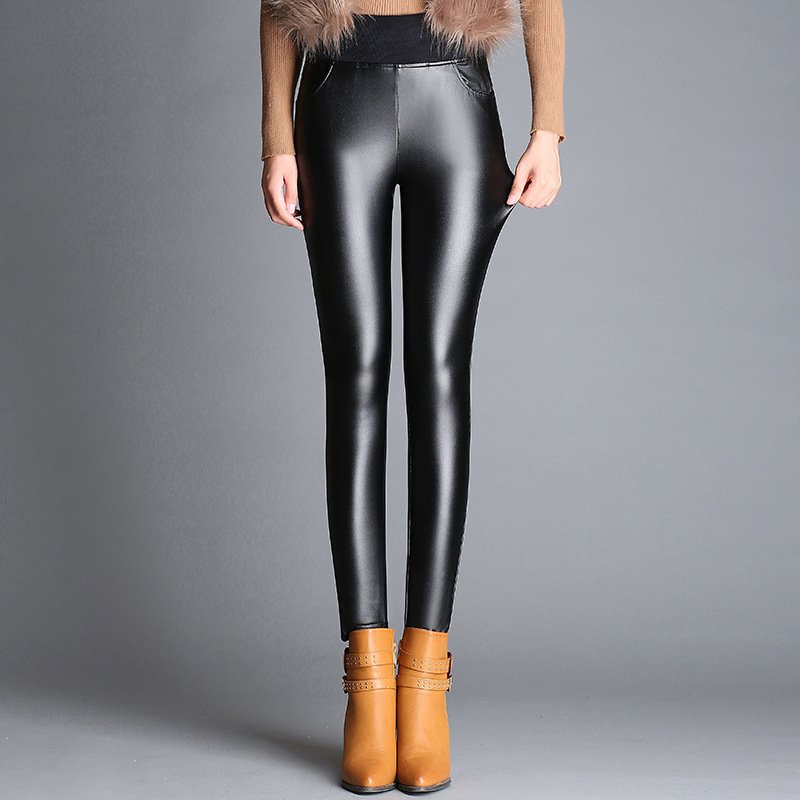 Nonis 2018 New Arrival Women High Waist Stretch Pencil PU Leather Pants Female Slim Skinny Lady Leggings 3 Colors Plus Size