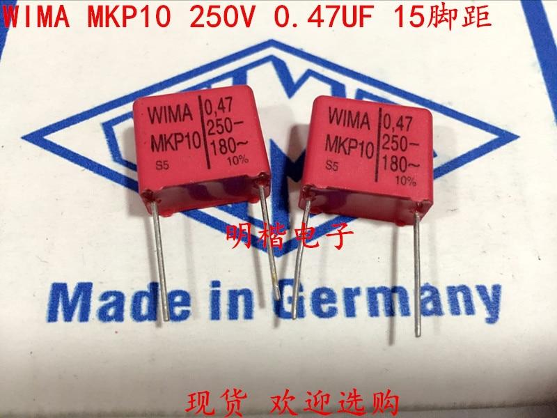 2019 Hot Sale 10pcs/20pcs Germany WIMA Capacitor MKP10 250V 0.47UF 250V 474 470N P: 15mm Audio Capacitor Free Shipping