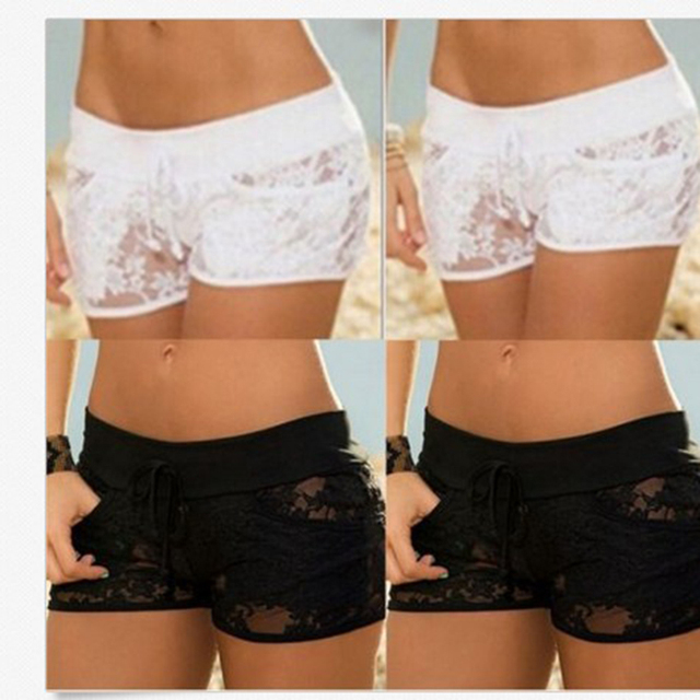 2017 New Woman Fashion Shorts Sexy Black Lace Hollow Summer Woman Short Pants Solid Color Low Waist Sexy Short Pants NQ966131