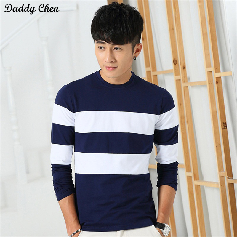 Casual striped full long sleeve t shirt men cotton O Neck t-shirt funny 2017 tshirt brand slim fit extra top tees for mens male