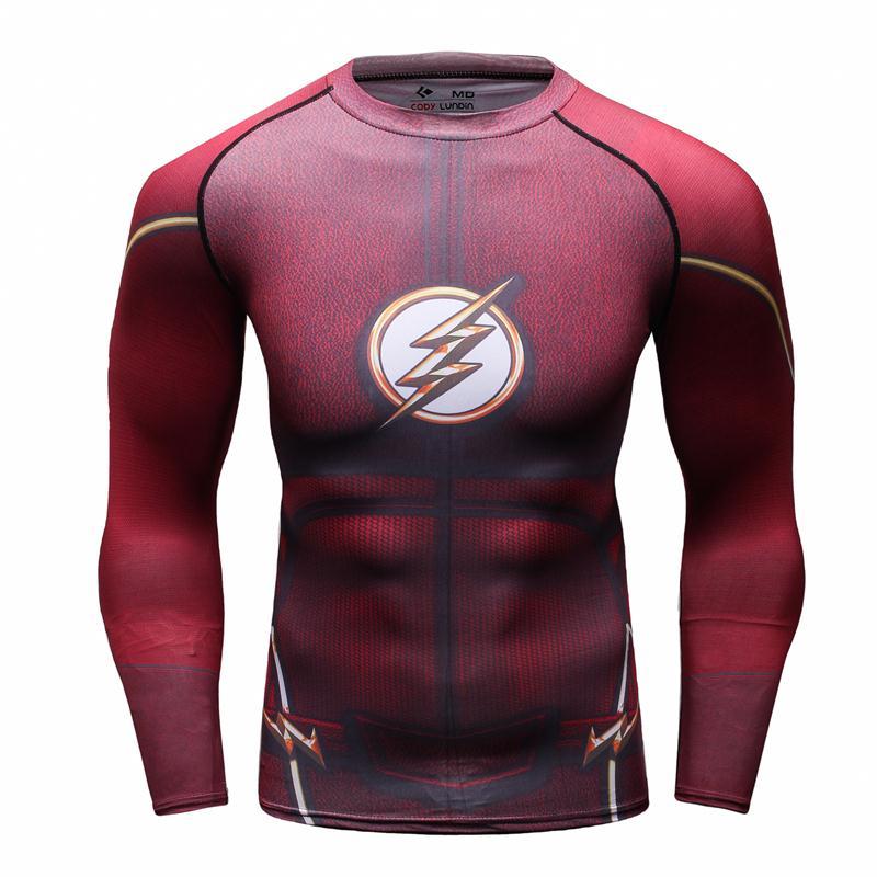 Compression Shirt-3D Trykte T-shirts Langærmet Herre Superman Cosplay Kostume Fitness Beklædning Toppe Mand