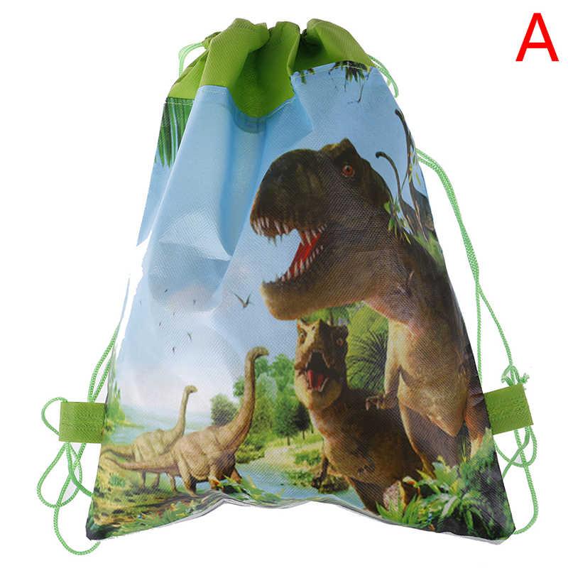 Fiesta de cumpleaños niños favorece dibujos animados lindo dinosaurio tema decorar tela no tejida Baby Shower cordón bolsas de regalos