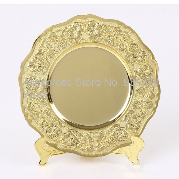 Gold plated metal memorial plate with display stand custom gold souvenir plate with detailed raised & Gold plated metal memorial plate with display stand custom gold ...