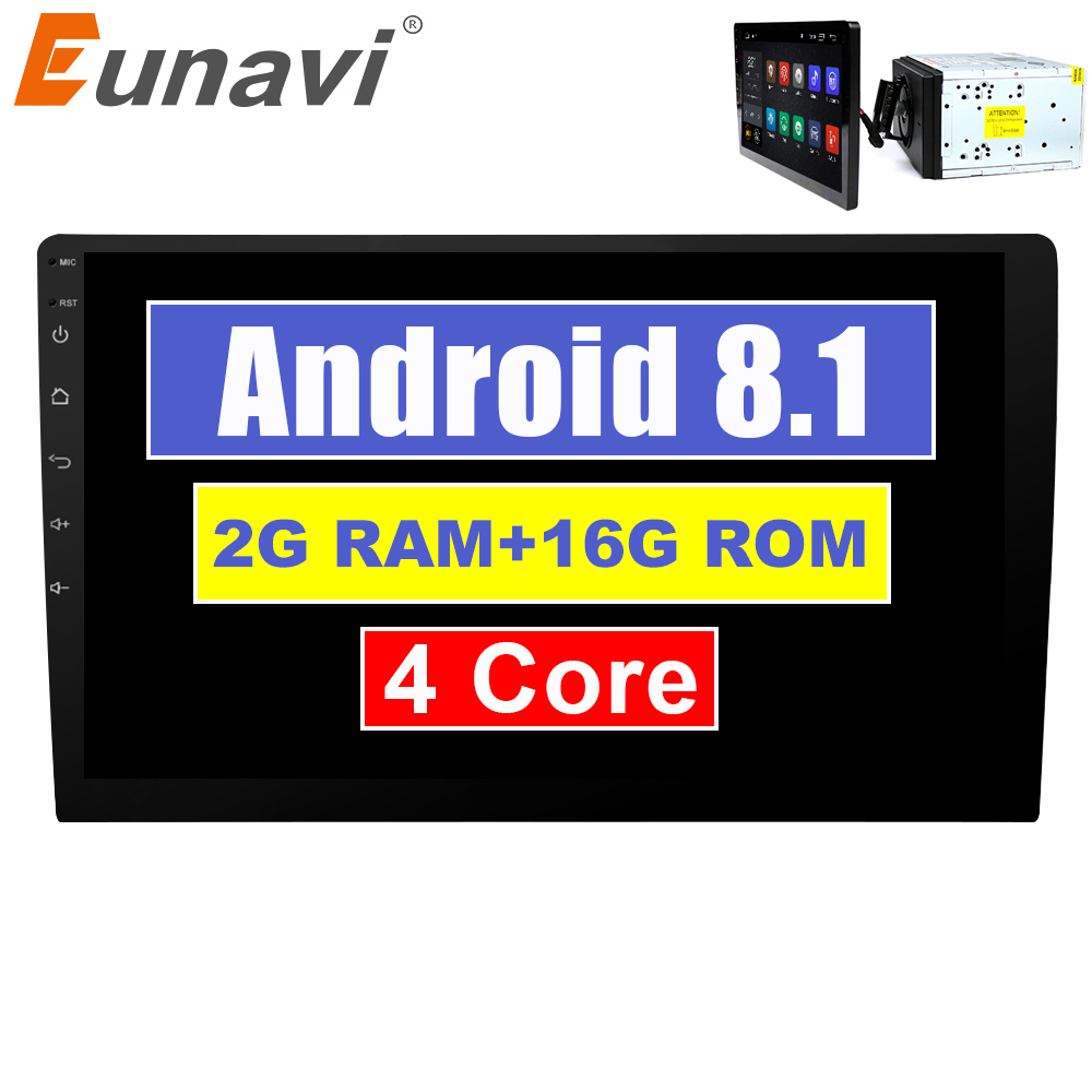Eunavi 2 din 10.1 inch quad core TDA7851 Android 8.1 Car Radio GPS Navigation with capacitive screen stereo Bluetooth wifi 3g
