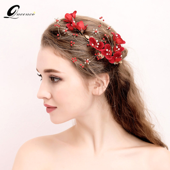 Queenco Red Floria Bridal Headpiece Pearl Wedding Hair Accessories Barrettes Wedding Engagement Bride Jewely Bridesmaid Gift headpiece