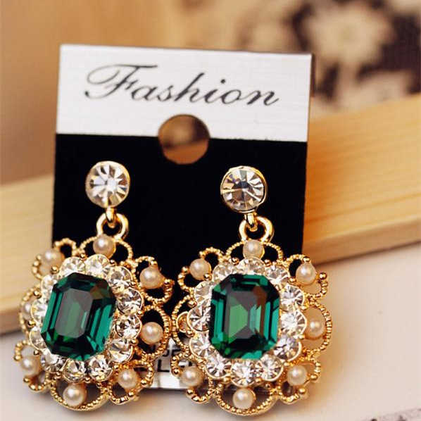 Hot Fashion Hollow Simulated Pearl Earrings Wholesale Geometric Square Rhinestones Dangling Drop Earrings For Women Jewelry