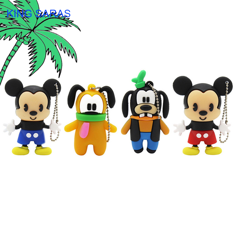 KING SARAS Cartoon Real Capacity Dog Mickey  Flash Drive Usb 2.0 4GB 8GB 16GB 32GB 64GB Pendrive