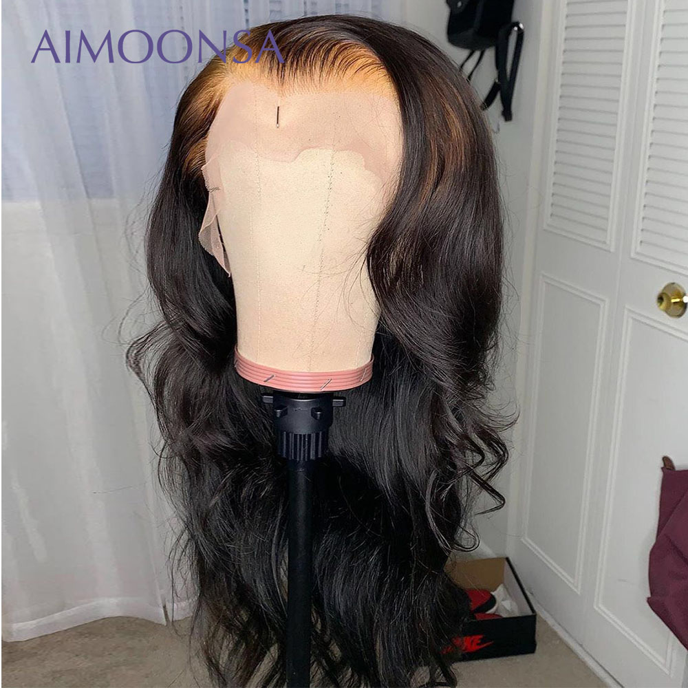 13x6 HD Lace Transparent Body Wave Wig 150% Density Transparent Lace Front Human Hair Wigs Remy Full Ends PrePlucked Lace Wig