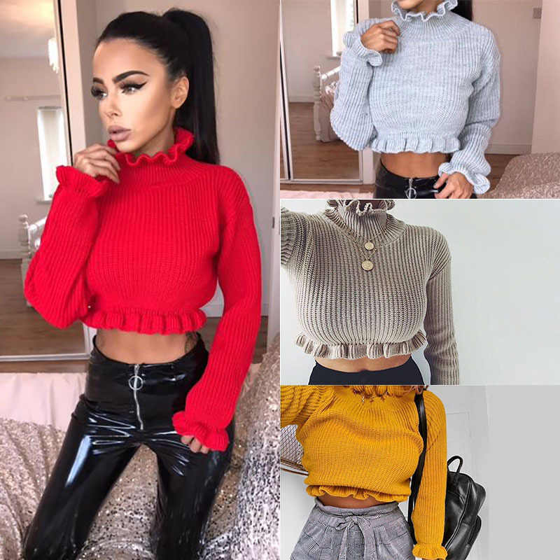 08c5094221 Autumn Winter Women s Ruffles Turtlenecks Sweaters Knitted Clothing Fashion  Sexy Crop Butterfly Sleeve Sweater Pullover