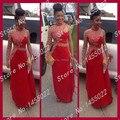 Envío Gratis 2015 Sirena de Un Hombro Rhinestone de Manga Larga Vestidos de Baile Con Cuentas de Cristal Rojo Vestido de Noche Largo Más El Tamaño