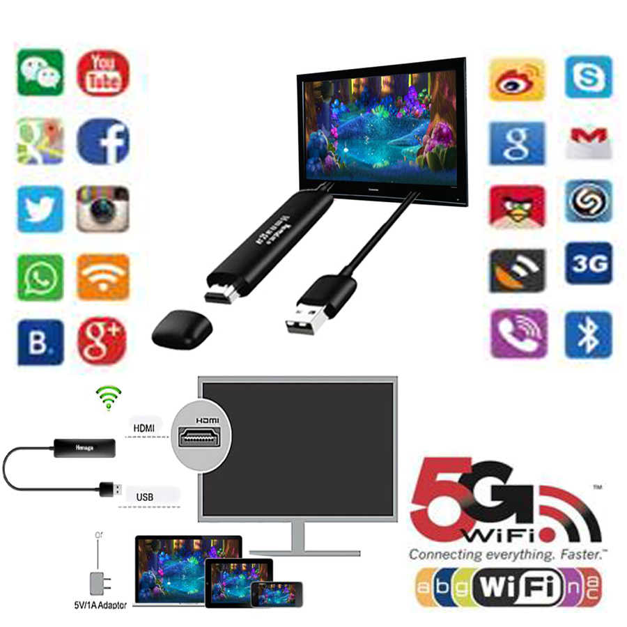 5G Draadloze Weergave Ontvanger Dongle Miracast Airplay Dlna HDMI Wifi Mirrorr Cast TV Dongle Stick Voor youtube Android IOS windows