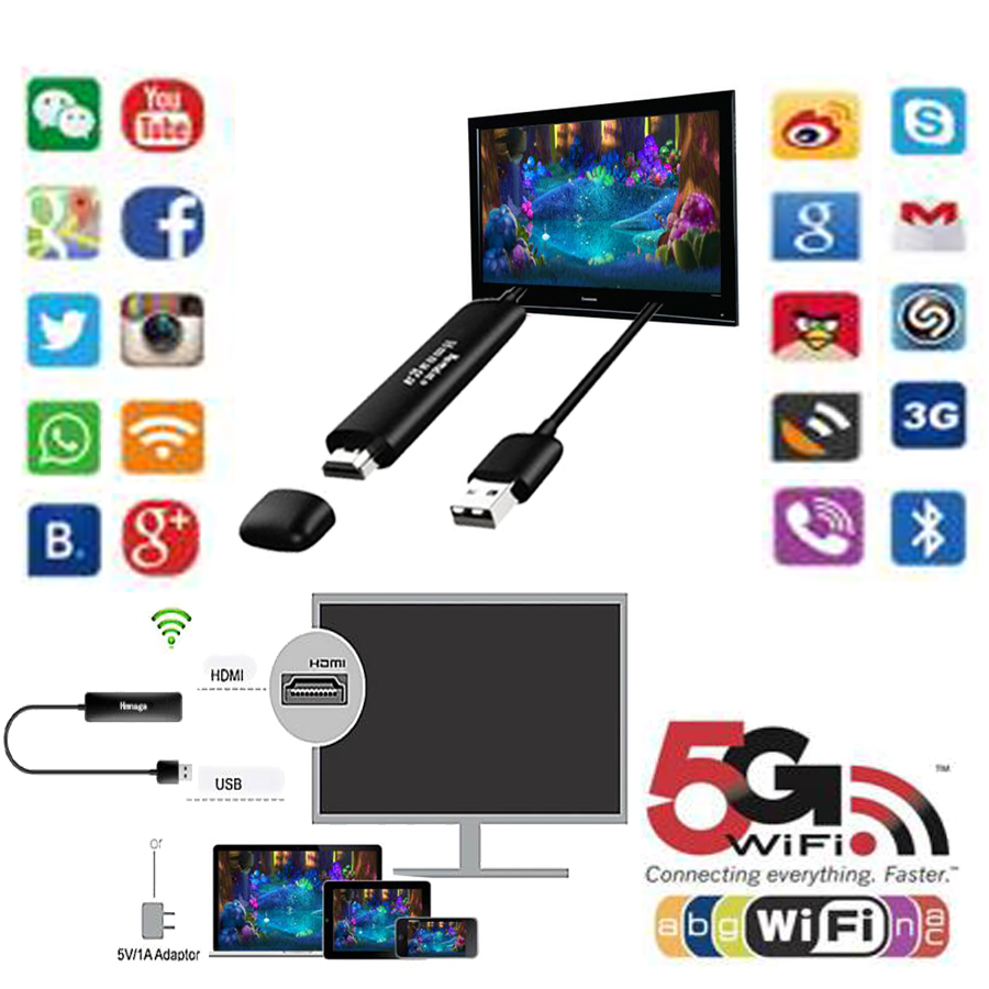 5G Wireless Display Receiver Dongle Miracast Airplay Dlna HDMI Wifi Mirror Chrome Cast N ...
