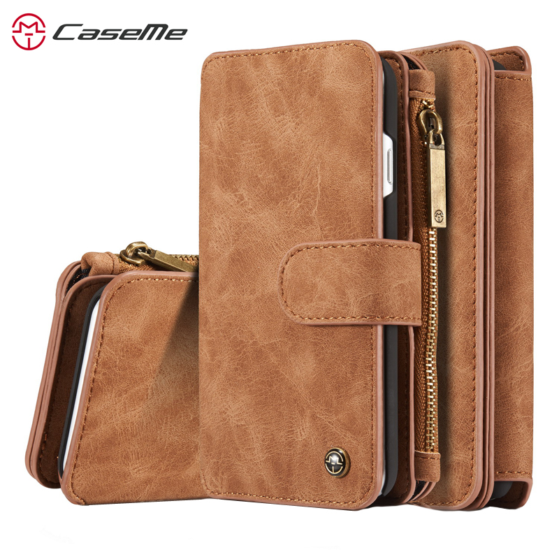 Caseme Luxury Genuine Leather Wallet Case for iPhone 7 8 Plus Zipper Flip Book Case for iPhone XR XS Max X Capa with Card SlotsCaseme Luxury Genuine Leather Wallet Case for iPhone 7 8 Plus Zipper Flip Book Case for iPhone XR XS Max X Capa with Card Slots