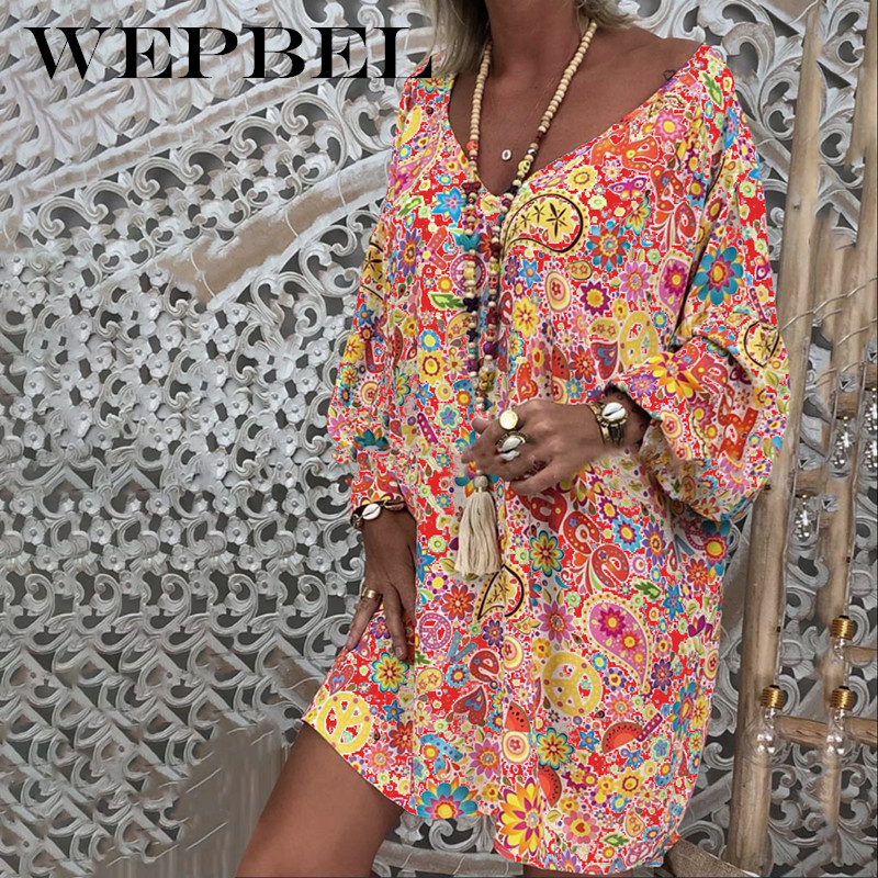 WEPBEL Ethnic Style Loose Printed Bohemian Beach Dress Summer Leisure Vacation Long Sleeve V-neck High Waist Dress