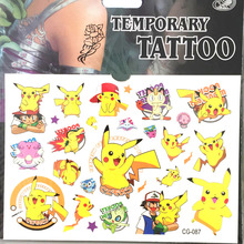 1pcs Pokemon Japan Cartoon Game Pikachu Temporary Tattoo Sticker Decal Flash Tattoo Children Body Arm Birthday Decorations Gifts