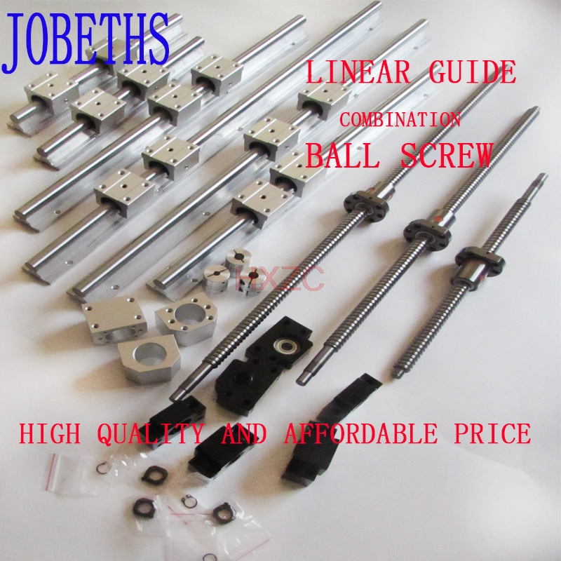 3 SBR20 rail sets +3 anti-backlash ballscrews RM1605+3BK/BF12 +3pcs couplers 2 x sbr20 300 600 1000mm linear rail support sets 3 ballscrews rm1605 3 bk bf12 3 coupling