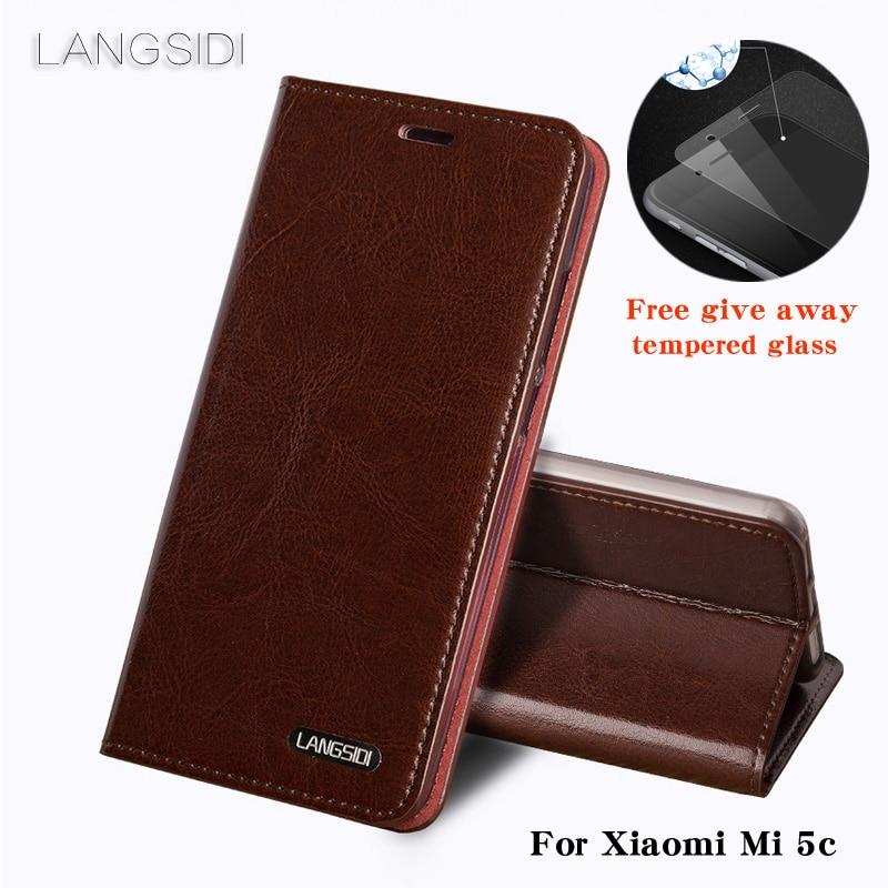 Wangcangli pour Xiao mi mi 5c coque de téléphone huile cire peau portefeuille flip Stand titulaire fentes pour cartes étui en cuir pour envoyer un film de verre de téléphone