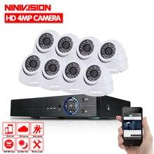 NINIVISION Белый Купол HD 8CH AHD DVR комплект 4.0MP безопасности Камера s Системы 8*4 Мп день Ночное видение CCTV охранных Камера Наборы