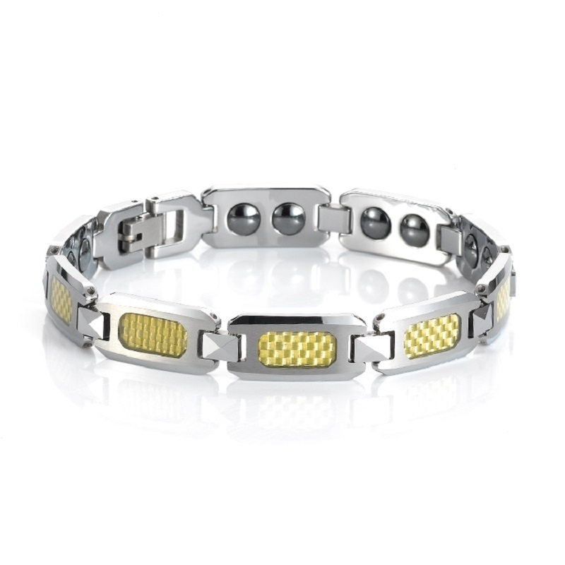 Christmas Gift for Men Tungsten Carbide Bracelet with Carbon Fiber Bracelet inlay Male Magnet Energy Healthy Jewelry TU014B