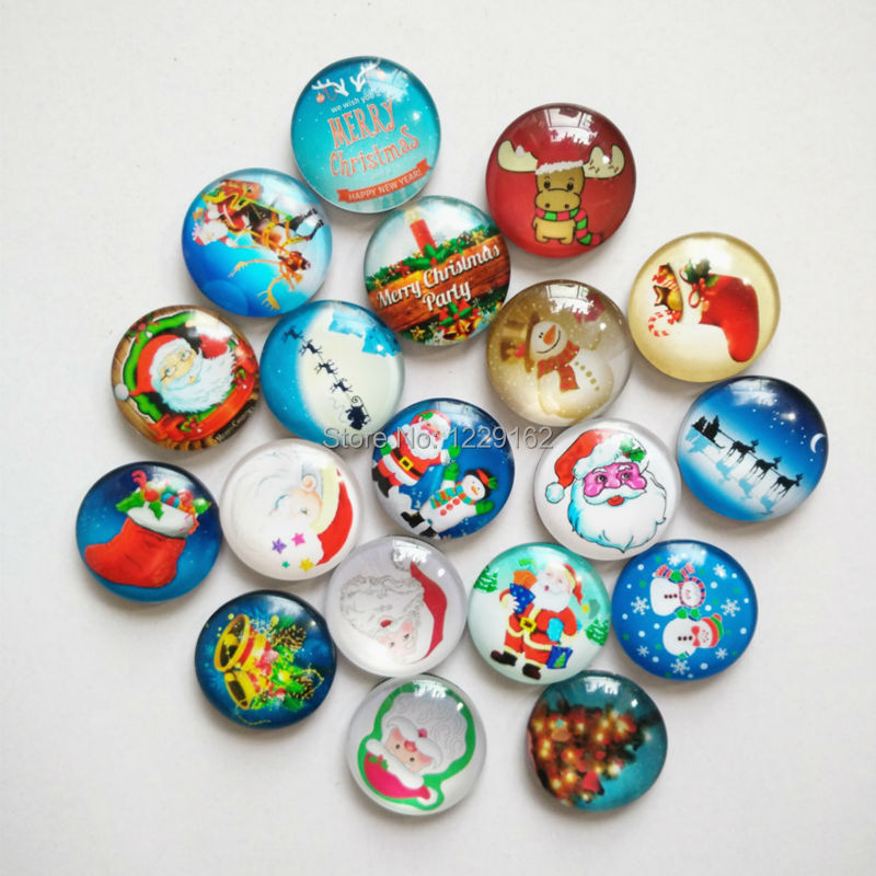 Free shipping (14pcs/lot) Dia.3cm Round Crystal Glass fridge magnet Cartoon Xmax message sticker Christmas Decoration