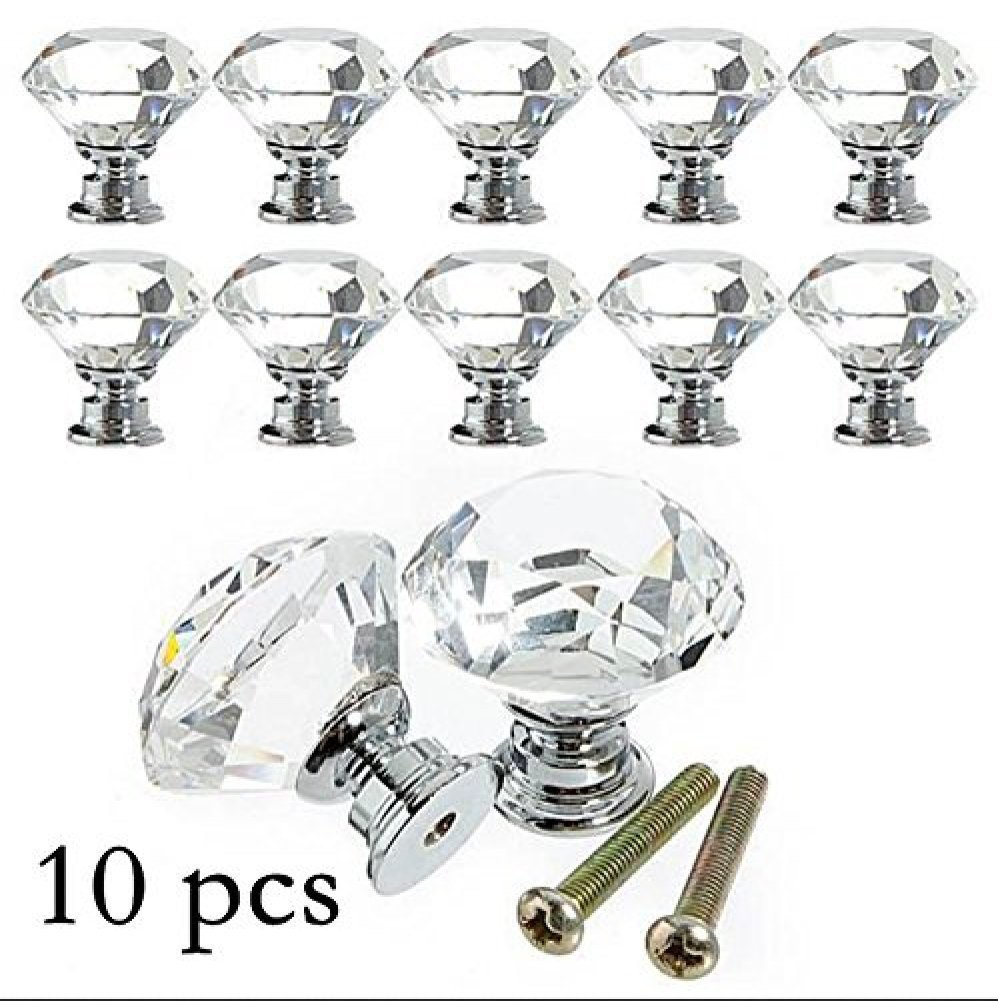 10PCS Diamond Shape Crystal Glass 30mm Drawer Knob Pull Handle Used for Drawer Wardrobe Cabinet Cupboard