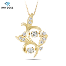 DovEggs 18K Yellow Gold Ladies Diamond Necklace Solid Pendant For Women