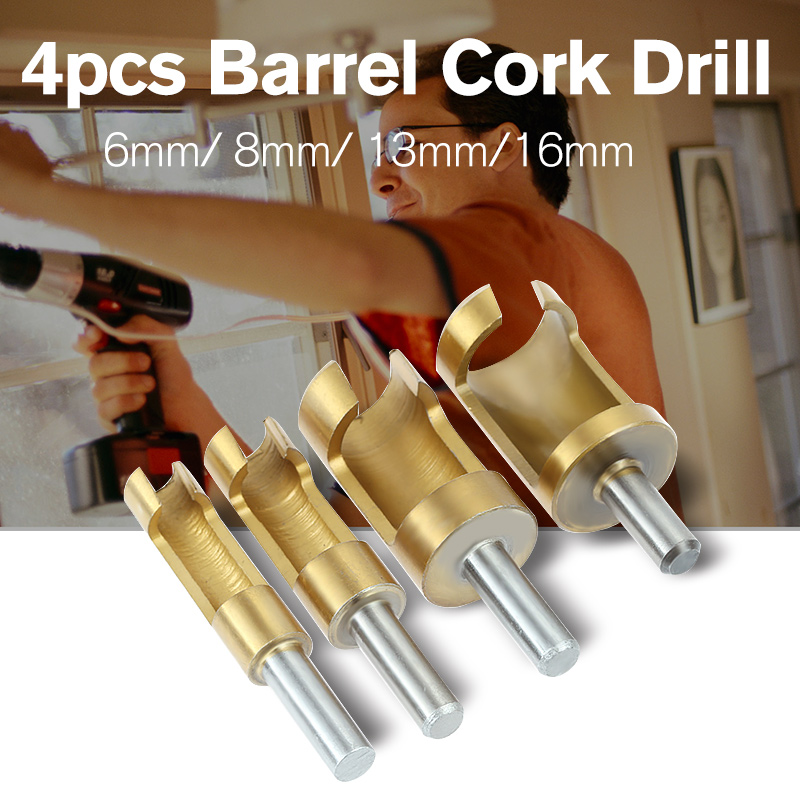 4pcs Barrel Cork Drill Plug Cutter Drill Bit Bored Hole Wood Tenon Hole Saw Arbors foret bois woodworking tools taladro manual