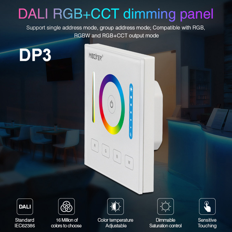 MiBOXER DALI 86 touch panel brightness/CCT/RGB+CCT dimming smart led dimmer controller DP1/DP2/DP3 for led strip downlight