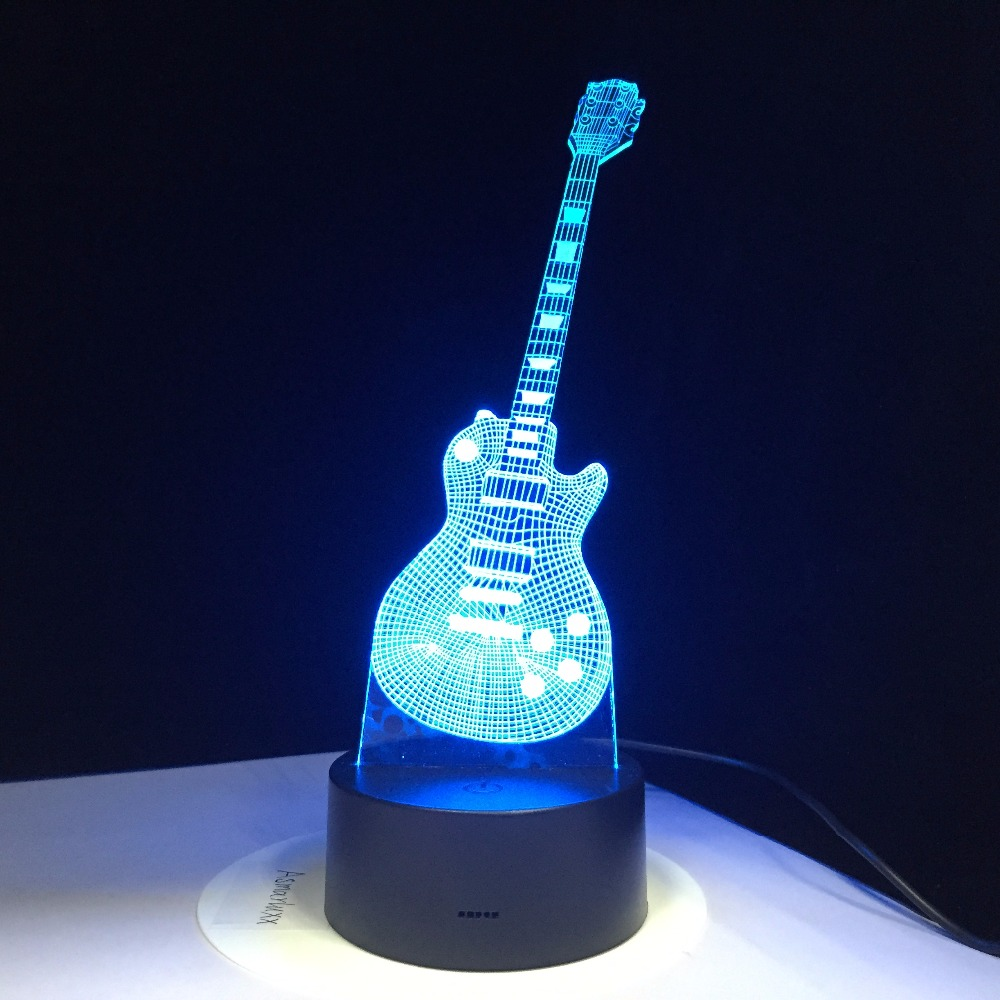 3D Electric Guitar LED Lamp 7 Colorful USB Table Lamp Baby Sleeping Night Light Music Touch Control Or Remote Control Kids Gifts