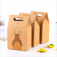 10pcs Santa Claus Kraft Paper Candy Boxes Chocolate Packaging Gift Box For Guests Party Decoration Christmas