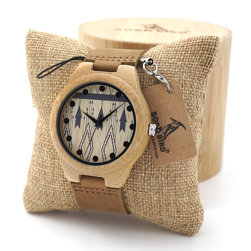 BOBO BIRD Men's Bamboo Wooden Quartz Watches With Genuine Cowhide Leather Band Luxury Wood Watches for Men Best Gifts Item fashion new antique genuine cowhide leather band lovers luxury watches zebra wood bamboo wristwatch for women as best gifts