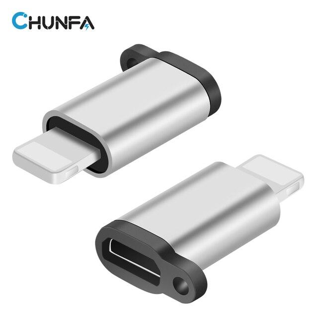 CHUNFA Micro USB Adapter para o iphone 7 Plus 7 6 6 S 8 5S Conversor OTG com Furo de Cabo do Carregador Rápido Portátil Converter para relâmpago