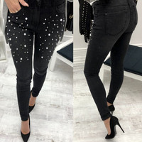 Women Beaded Jeans Pencil Pants Embroidered Flares Sexy Bodycon Denim Pants Pearls Beading Skinny Pants Women