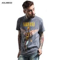 Aolamegs Men S T Shirt Heavy Metal NIRVANA Rock Style Tshirt Fashion Vintage IN UTERO Print