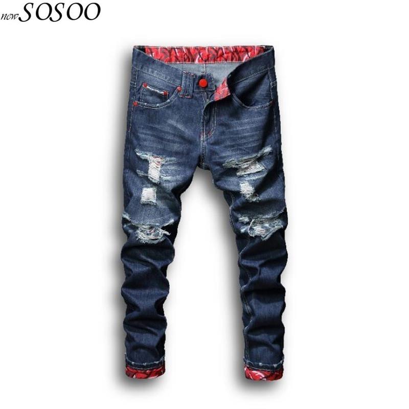 2018 new men jeans Cotton knees holes straight skinny jeans men fashion summer dress ripped afligido jeans men #L109