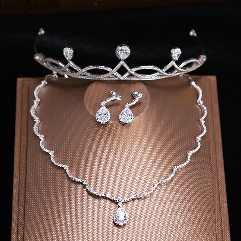 Korean Style Fashion Jewelry Sets 3PCS Micro Inlays Cubic Zirconia Princess Tiara Crown Bridal Wedding Zircon Necklace Earrings маленькая сумочка korean style 2015 crown 0155