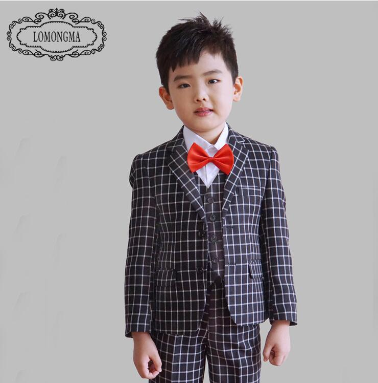 Spring 2016 children s clothing Plaid kids wedding suits blazers for boys jacket pants vest