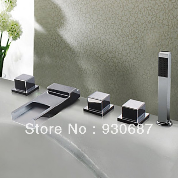 Modern Polished Chrome Finish Stainless Steel Spout LED Waterfall Bathroom Basin Bathtub Faucet