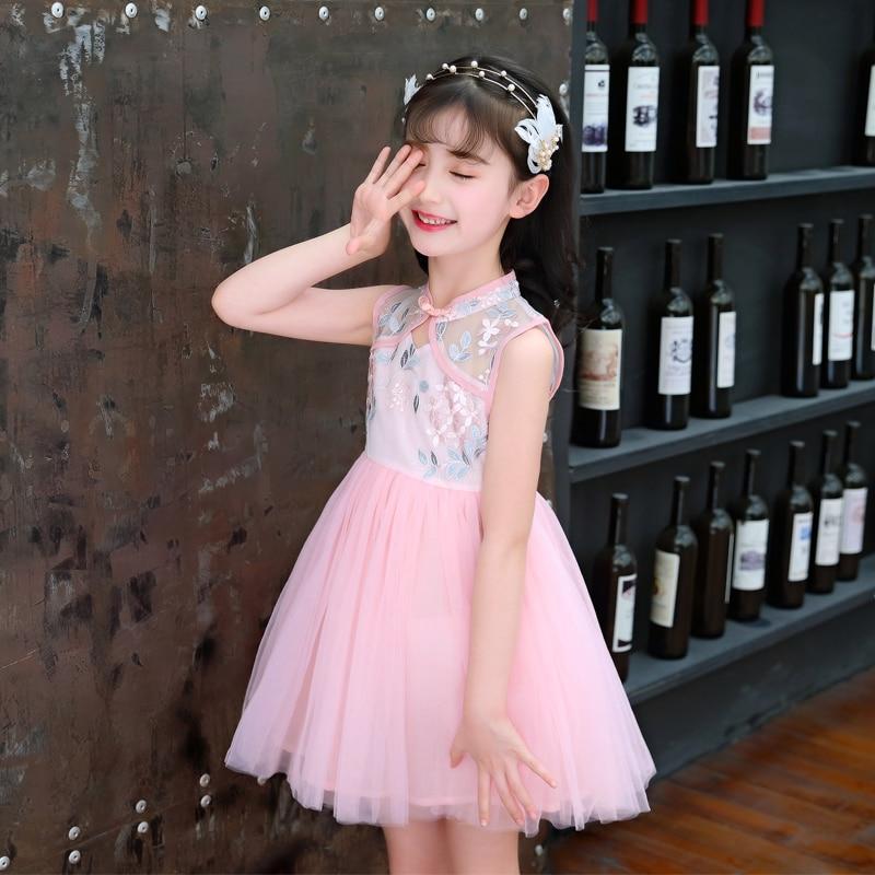 Crew Neck Sommar Qipao Girls Princess Dress Flickor Kläder E-8 b1ce006620f0d