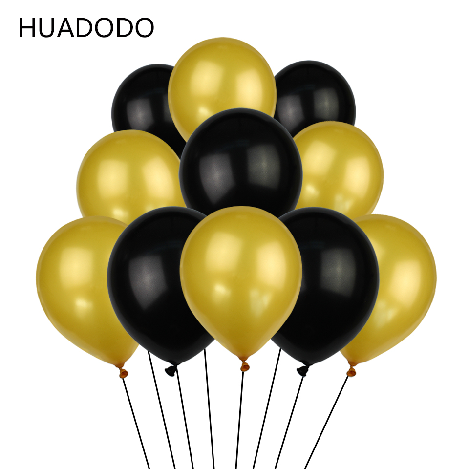 HUADODO 10pcs Gold Black and Pearl Latex Balloons 12inches Birthday Baby shower Wedding Party fun decoration new years decor