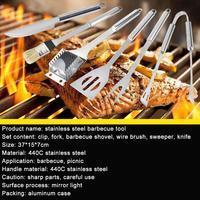 6Pcs/Set Stainless Steel Fork Knife Brush Scoop Kit BBQ Picnic Accessory