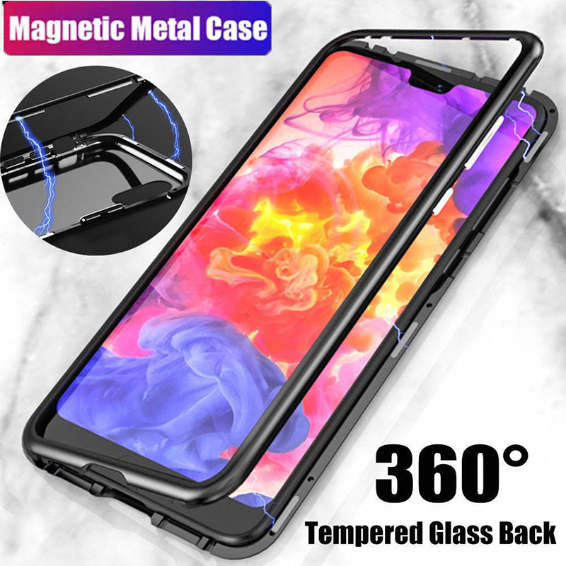Magnetic Adsorption Metal Case for Samsung Galaxy S9 S8 Plus Note 8 Flip Tempered Glass Back Cover for iPhone X 8 Plus Case