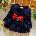 Baby girls dress 2015 new spring bebe infant chiffon dress with big bow-knot kids fashion polka dress roupas infantil meninas