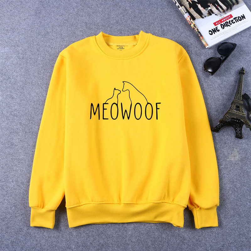 Meowoof Letters Print Women Sweatshirts Casual Funny For Lady Girl Top Hipster Drop Ship