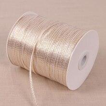 50 ярдов 1/8 ''(3 мм) Золотая белая лента высокого качества корсажные атласные ленты для упаковки подарков ленты для украшения свадебной вечеринки