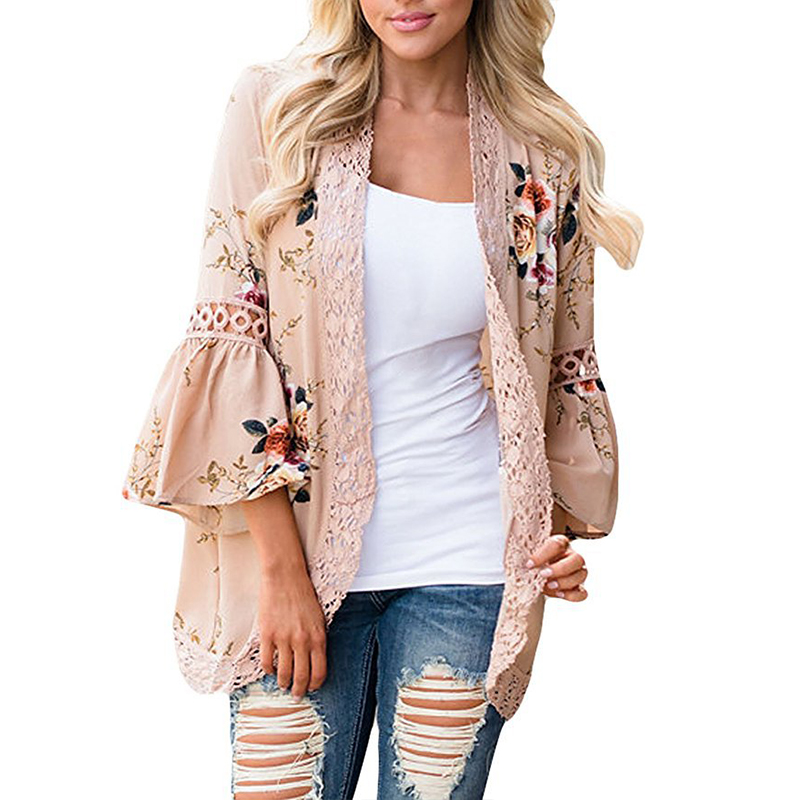 SHIBEVER Women Print   Blouse     Shirt   Boho Floral Kimono Lace Spliced Cardigan Autumn Summer Long Tops Vintage Chiffon   Blouse   ALD744