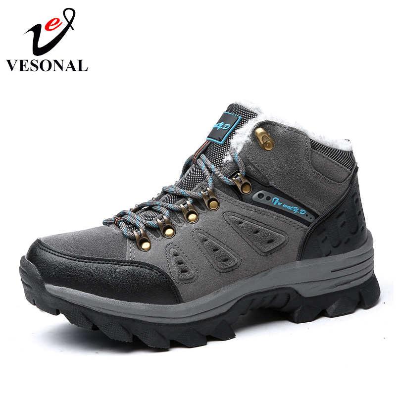 VESONAL Brand Winter Fur Warm Snow Boots For Men Sneakers Male Shoes Adult Non Slip Rubber