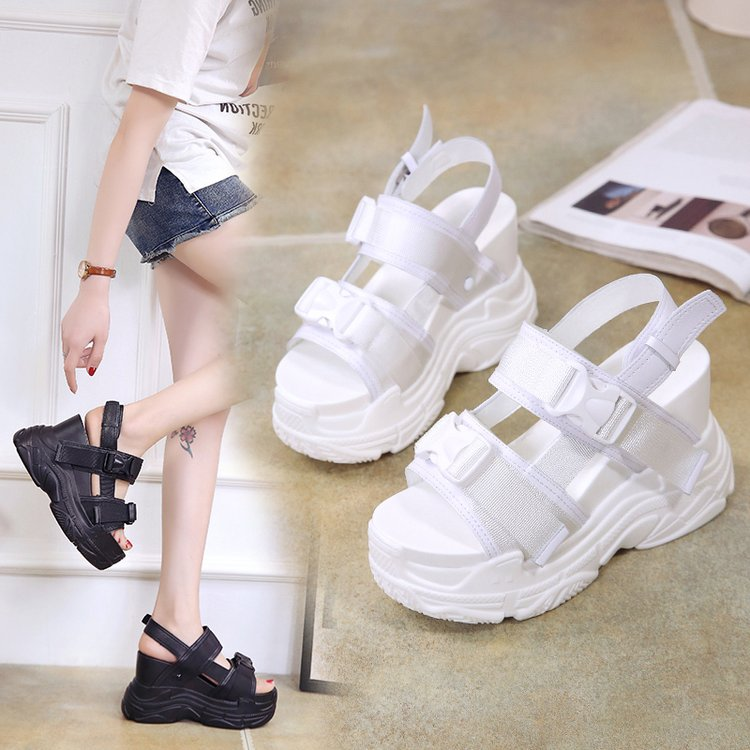 HTB1Q0T8bffsK1RjSszbq6AqBXXaF Fujin High Heeled Sandals Female Increased Shoes Thick Bottom Summer 2019 New Women Shoes Wedge with Open Toe Platform Shoes
